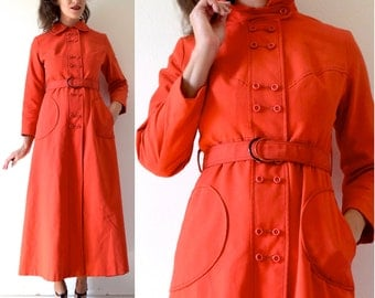Vintage 60s 70s Debutogs New York Tomato Red Mod Belted Trench Coat (size xs, small)