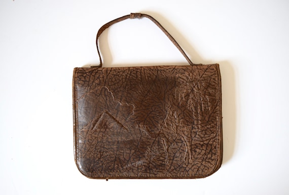SUMMER SALE / 20% off Vintage 60s 70s Brown Leather Handbag with Embossed Egyptian Motif
