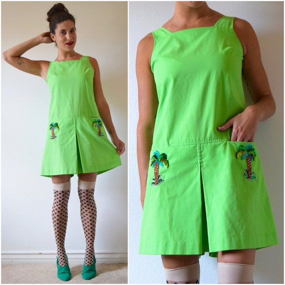 Vintage 60s 70s Chartreuse Dropped Waist Romper with Sequined Palm Tree Appliques (size small, medium)
