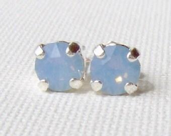 Air blue opal rhinestone stud earrings / 6mm / Swarovski crystal / bridesmaid earrings / gift for her / girlfriend gift / surgical steel