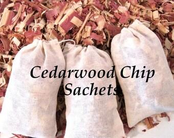 Cedar Wood Chips, Shavings Sachets - Moth, Insect Repellent, Drawer, Shoe Sachet, Organic - 6 Sachets