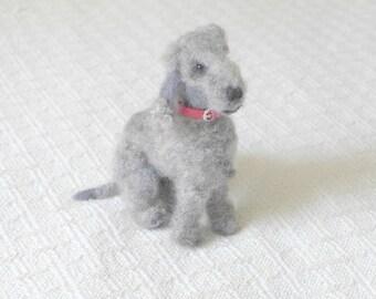 The Perfect Gift / Custom Pet Portrait direct from Artist / Gourmet Felted Original OOAK /example Bedlington Terrier