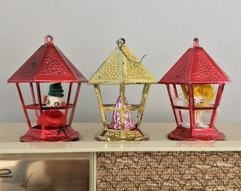 Three Plastic Lantern Ornaments with Bonus Kitsch