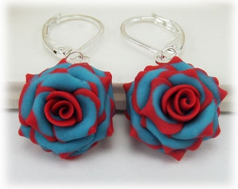 Red Tip Turquoise Rose Petal Earrings