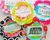 Fabric Flowers Sewn Sentiment Embellishments Set of Five