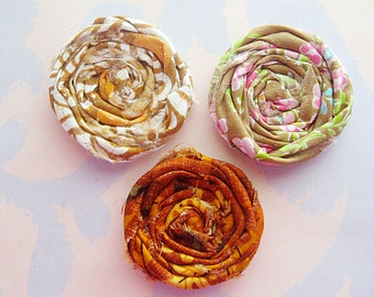 Shabby Rolled Fabric Flowers for Fall Set of Three