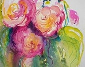 Affection, Original Watercolor Painting of Roses by Angela Fehr