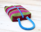 Wristlet Cosmetic Bag Pencil Case in Jewel Tone Stripes