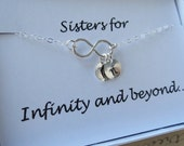 TWO DAY SALE Sister Necklace & Card Set,Sister Infinity Jewelry Sideway Silver Infinity,Up to Three Initials,Infinity Set, Infinity Gift Car