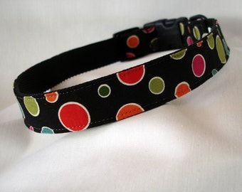 Polka Dots - Large Dog Collar - 1 Inch Wide - Adjustable Between 15-23 Inches - Dots - Clowning Around - READY TO SHIP