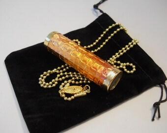 Mini Kaleidoscope Necklace, Necklace Kaleidoscope, Iridescent Copper, Basket Weave Pattern