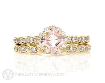 14K Asscher Morganite Wedding Set Morganite Engagement Ring Wedding Band Diamond Halo Morganite Ring Custom Bridal Jewelry