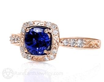 14K or 18K Rose Gold Art Nouveau Blue Sapphire Engagement Ring Diamond Halo Blue Sapphire Ring Vintage Custom Bridal Jewelry
