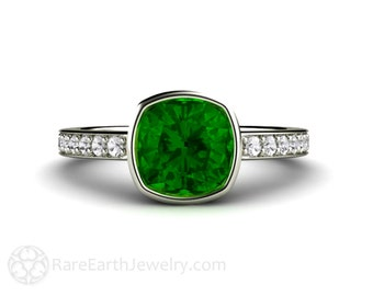 Green Tourmaline Ring Bezel Set Cushion with Diamonds in 14K Gold October Birthstone Ring Green Stone Ring