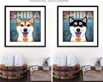 Shiba Inu dog Coffee House graphic art giclee print by stephen fowler
