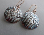 Rustic hammered copper earrings with patina
