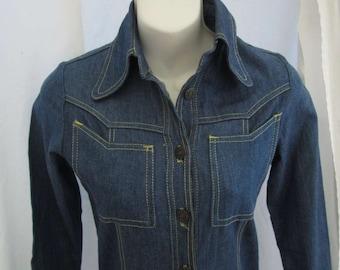 70s Denim Dress jeans style Vintage boho blue denim dress 70s Western dress  S XS