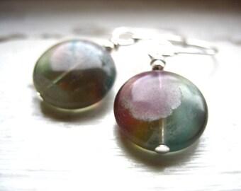 Fluorite, Fluorite Gemstone Dangle Drop Earrings, Handmade Artisan Birthstone Jewelry