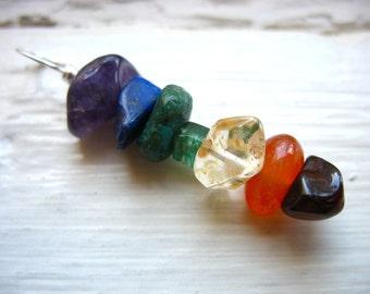 Rainbow Chakra Pendant, Rainbow Chakra Stone Jewelry, Rainbow Chakra Gemstone Necklace, Chakra Jewelry