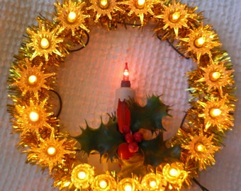Vintage Lighted Tree Topper - Circle of Lights with Candle - Wow