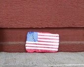 HONOR THE EARTH, Hand-painted American flag Lake Michigan rock, palm-size