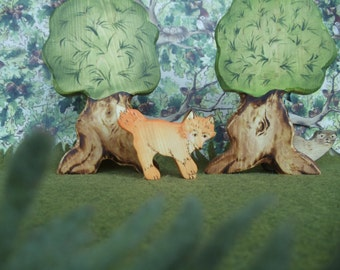 Wooden Fox Toy Waldorf Nature Table- Forest animal Montessori materials Pretend play