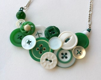 White and Green Button Statement Necklace