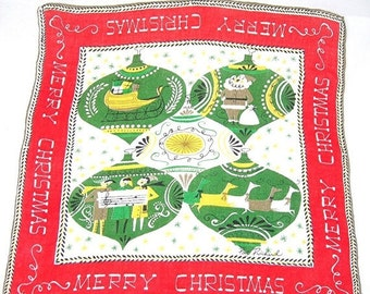 """Pat Pritchard Christmas Handkerchief, Vintage c1960s, Large 15"""" Square, Green Yellow Red White, Ornaments Design Merry Christmas"""