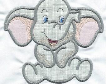 Playful Elephant  Applique quilt square or patch