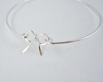 Bow bracelet Solid sterling silver charm bracele Silver bangle bracelet, Bridesmaid bracelet gift Tie the knot bracelet Layering bracelets