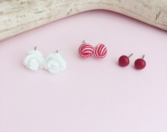 Cherry Red & White Stud Earrings,  Set of Three Flower Earrings, Perfect Gift Set for Her, Lead and Nickle Free Stainless Posts