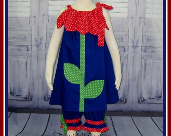SALE  Flower Pantaloons and Dress Size 3T RTS, Girl Outfit, Flower Set, Ruffle Pant