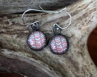 Chevron, Glass, Sterling Silver - Earrings