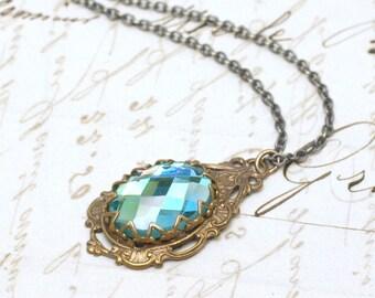 Victorian jewel necklace bridal brass antique style crystal aqua blue rhinestone vintage wedding jewelry aquamarine march