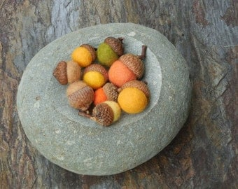 18 felted acorns /Autumn Colors / mixed sizes