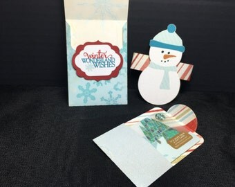 Winter Wonderland Wishes Snowman Christmas Gift Card Holder
