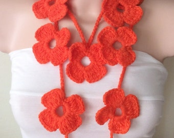 Flower Scarf Handmade Crochet Orange Flower Lariat, Scarf, Necklace