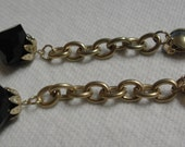 Sexy Vintage Long Black Bead Gold Tone Chain Dangle Clip Earrings