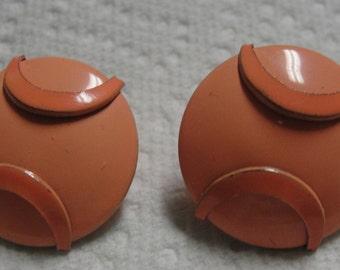 Vintage Orange Metal Clip Earrings