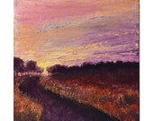 SUMMER SALE - Purple Morning Path - Sunrise - sunset - Original Oil painting - landscape art - 10 x 10 x 1.5 inch