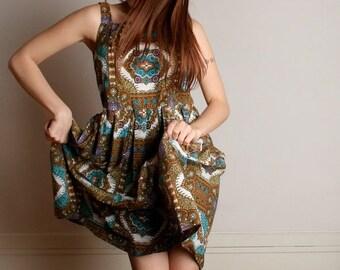 ON SALE Vintage 1950s Tiki Dress - Novelty Print Cotton Day Dress - Large XL