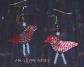 Vintage, Retro, Recycled, Metal, Tin Earrings, Junk, Gypsy Earrings, Red Birds, Beads,  Mixed Media