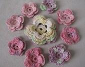 Crochet flowers,Crochet Applique Flowers ,9 pcs,degrade pink