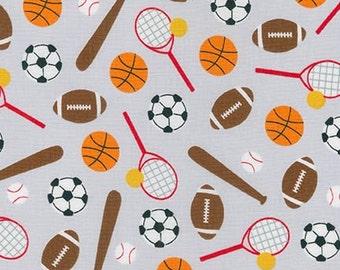 SALE Fabric, Sport Kids, Soccer fabric, Baseball fabric, Basketball fabric, Karate fabric, Ann Kelle, Sports Stuff in Gray, Choose Your Cut
