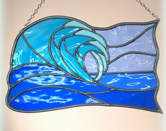Stained Glass Ocean Wave Free Form Suncatcher Hanging Panel