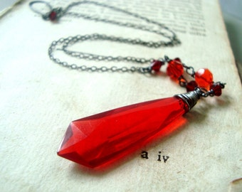 Ruby Red Lucite Necklace Velentines Jewelry Holiday Medieval Statement Jewelry Art Deco Geometric Jewelry July Birthstone Gothic