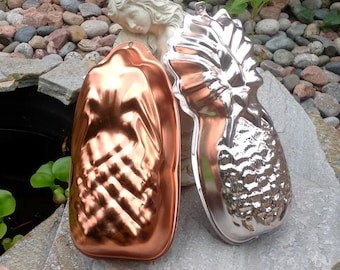 FREE SHIPPING-Vintage-Set of 2-Copper and Anodized Aluminum Pineapple Jello Molds-Tropical Decor-Coastal Decor-Dessert Molds-Welcome