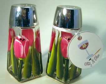 Hand Painted Pink Tulip Glass Salt and Pepper Shakers