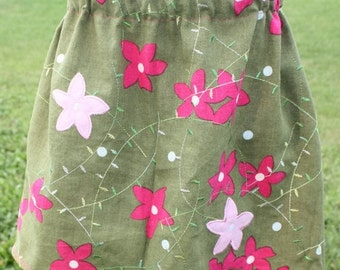 ON SALE Size 5 Green with pink flowers skirt