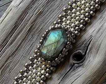 Free Form Peyote Stitch Beaded Skinny Bracelet  - Beaded Cabochon - Bead Weaving  - Labardorite Cabochon -  Galvanized Silver